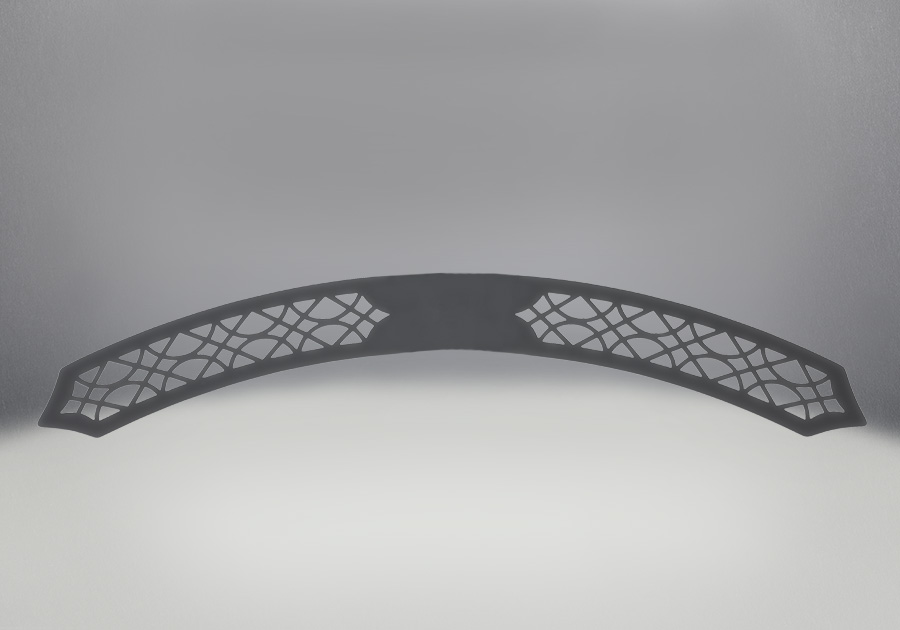 Arched Upper Grill, Painted Black Finish