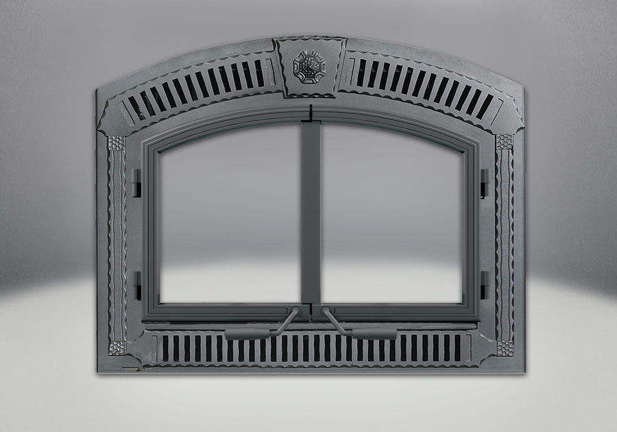 NZ3000H Complete Arched Wrought Iron Double Doors, Faceplate, Grill, & Keystone