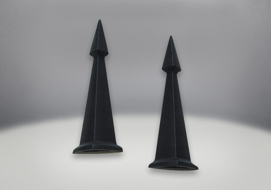 Andirons Painted Black Finish - Obelisk