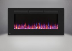 Flames set on combined orange and blue