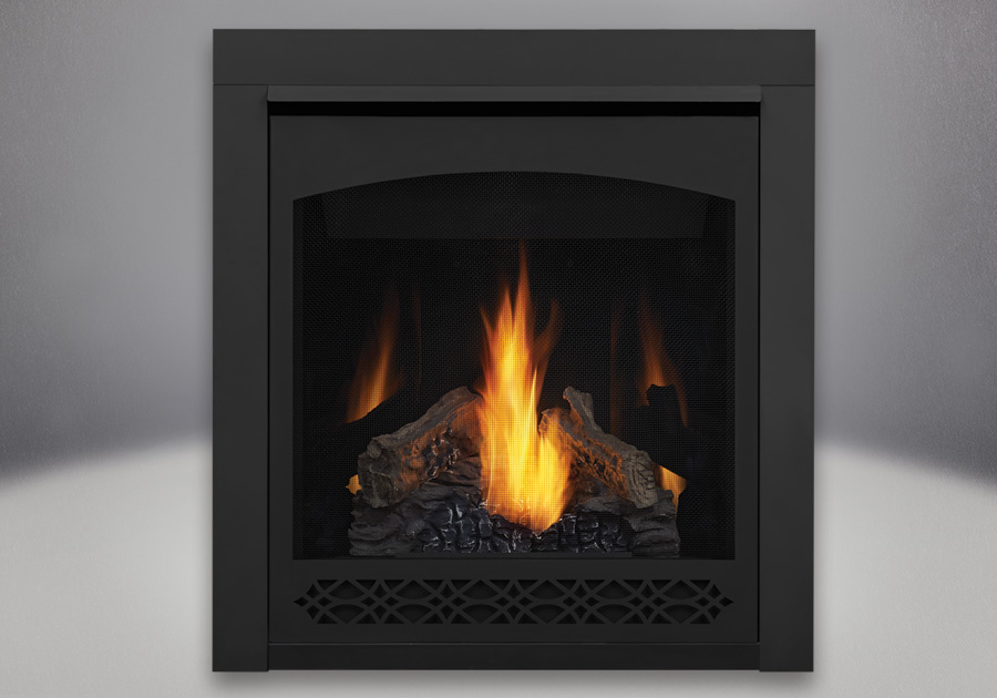PHAZER<sup>®</sup> Log Set, Decorative Front - Heritage, MIRRO-FLAME<sup>™</sup> Porcelain Reflective Radiant Panels, 2 inch Trim Kit