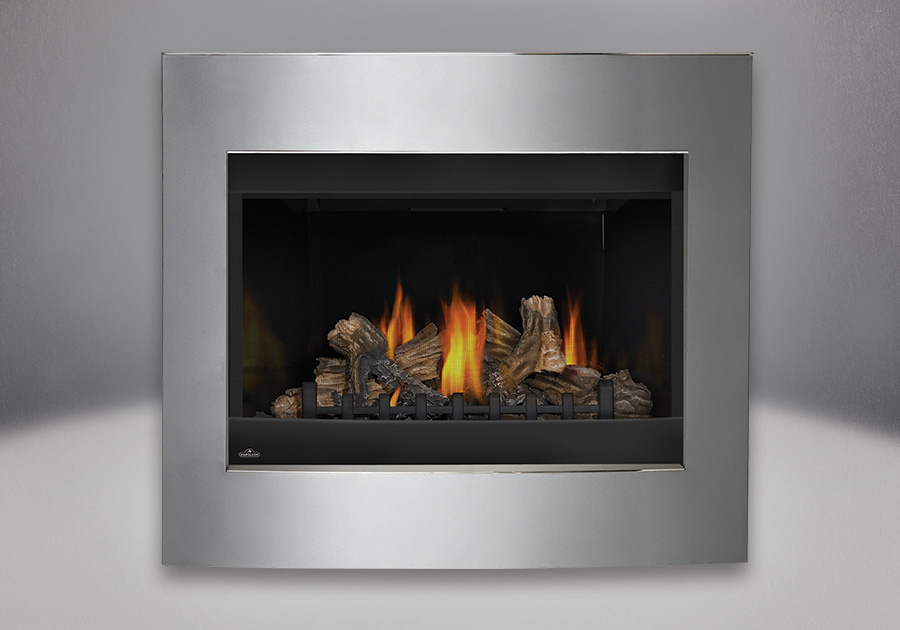 MIRRO-FLAME<sup>™</sup> Porcelain Reflective Radiant Panels, PHAZER<sup>®</sup> Log Set, Designer Convex Surround Diamond Dust Finish, Standard Safety Screen
