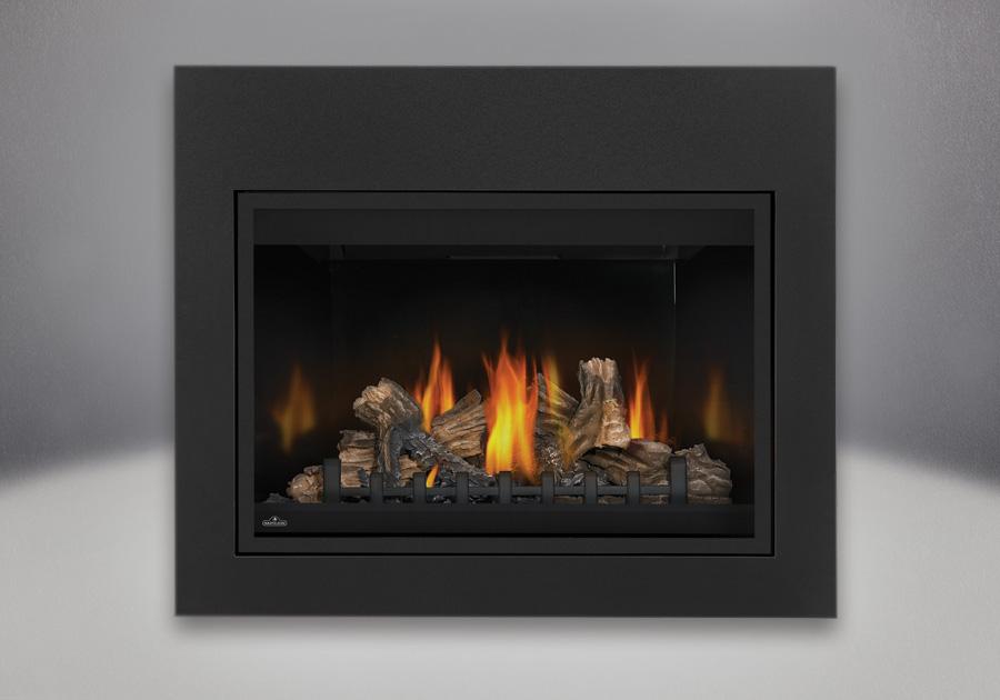 MIRRO-FLAME<sup>™</sup> Porcelain Reflective Radiant Panels, PHAZER<sup>®</sup> Log Set, Standard Safety Screen