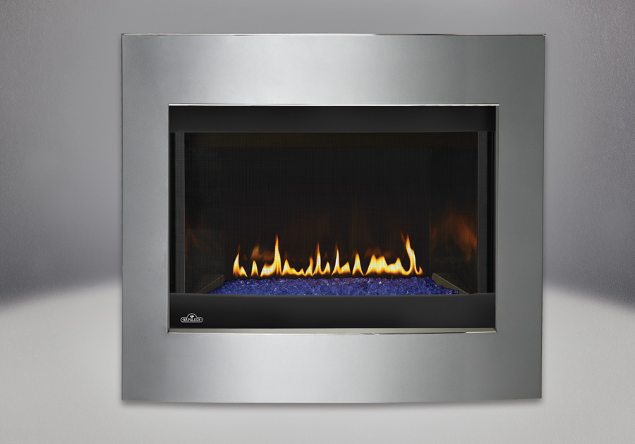 Convex Diamond Dust Surround, MIRRO-FLAME<sup>™</sup> Porcelain Reflective Radiant Panels, Glass Media Kit – Blue