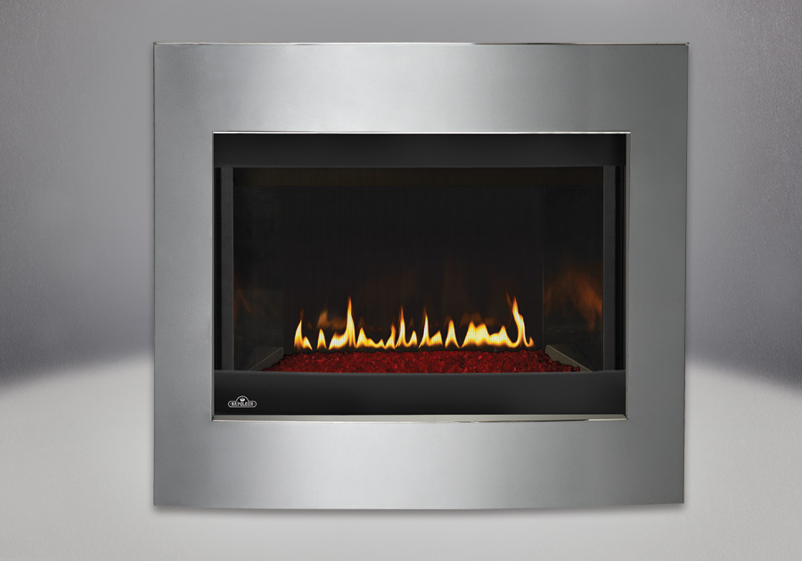 Convex Diamond Dust Surround, MIRRO-FLAME<sup>™</sup> Porcelain Reflective Radiant Panels, Glass Media Kit – Red