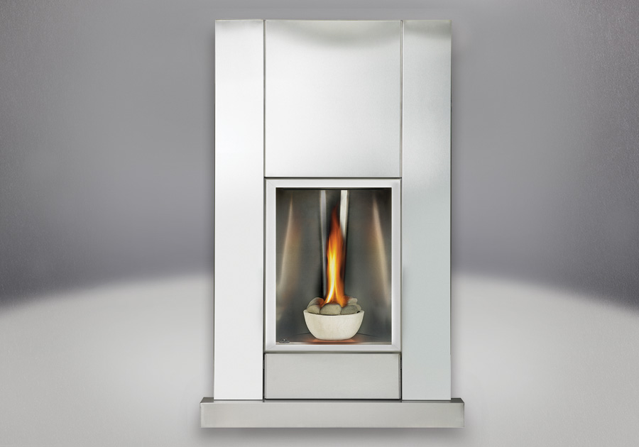Brushed Stainless Steel Surround & Hearth Kit with Safety Barrier, Concave Polished Satin Chrome Reflective Panel