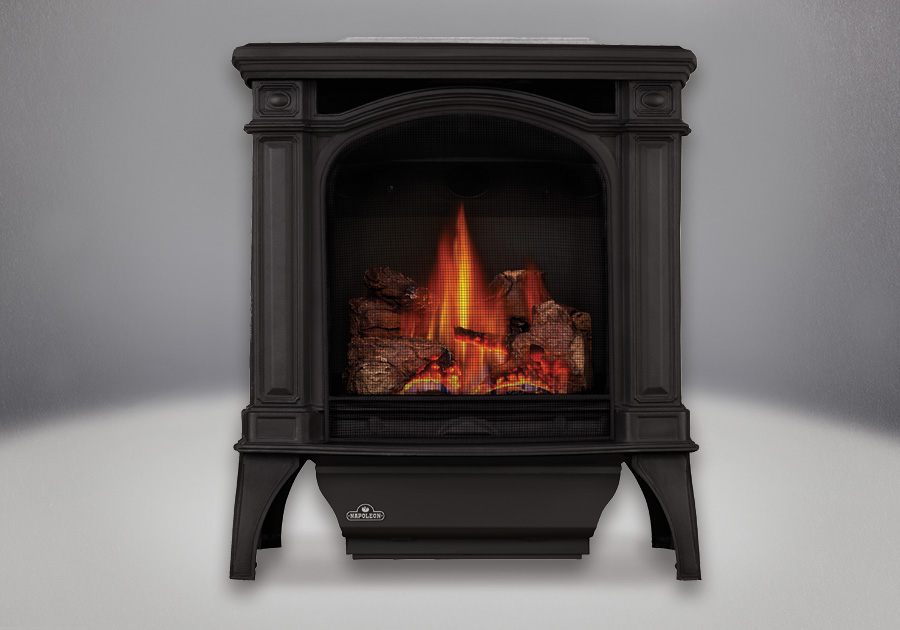 Painted Black Finish, MIRRO-FLAME<sup>&trade;</sup> Porcelain Reflective Radiant Panels, PHAZER<sup>&reg;</sup> Log Set, Lorena Slate Inset, Standard Safety Screen