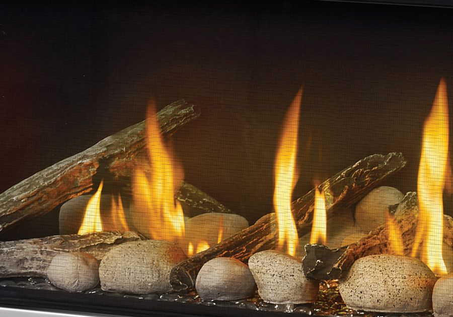 MIRRO-FLAME<sup>™</sup> Porcelain Reflective Radiant Panels, Clear Glass Beads, and a combination of the Beach Fire and Shore Fire Kits