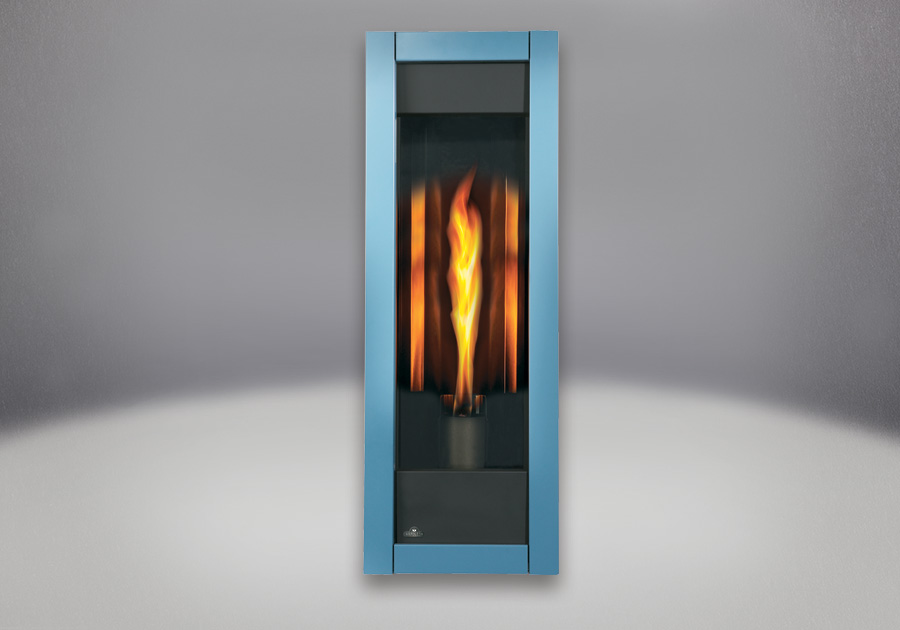 MIRRO-FLAME<sup>&trade;</sup> Porcelain Reflective Radiant Panels, Steel Blue Front