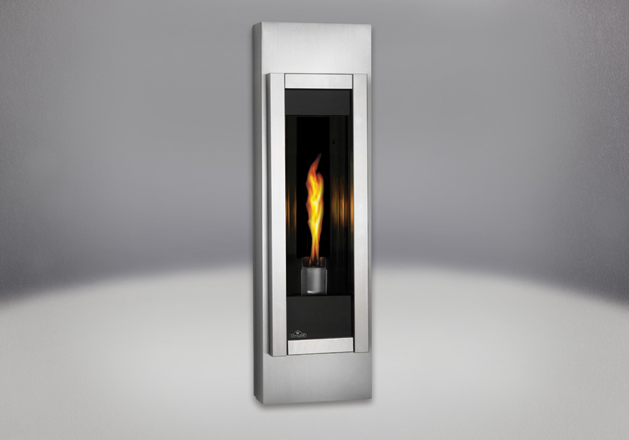 MIRRO-FLAME<sup>™</sup> Porcelain Reflective Radiant Panels, Stainless Steel Adjustable Mounting Cabinet, Brushed Stainless Steel Front