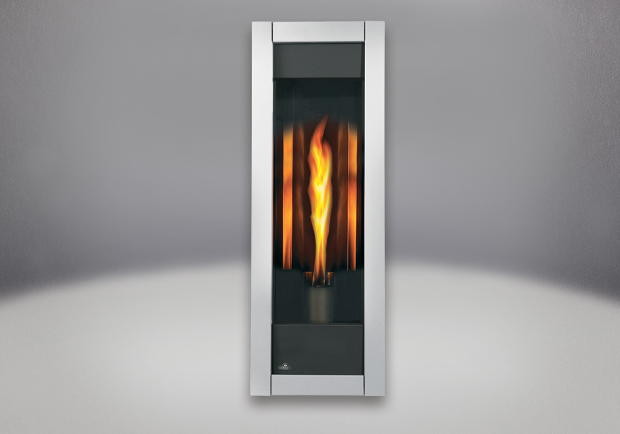 MIRRO-FLAME<sup>&trade;</sup> Porcelain Reflective Radiant Panels, Brushed Stainless Steel Front
