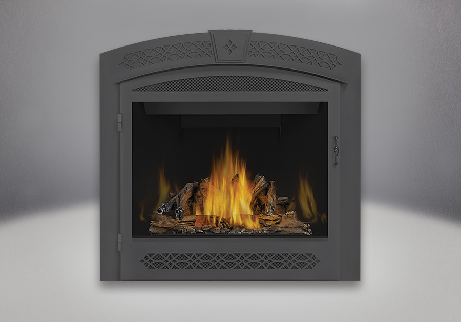 PHAZER<sup>®</sup> Log Set, MIRRO-FLAME<sup>™</sup> Porcelain Reflective Radiant Panels, Faceplate with operable screen