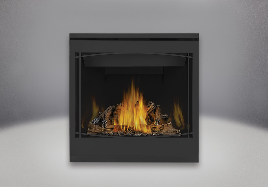 PHAZER<sup>®</sup> Log Set, MIRRO-FLAME<sup>™</sup> Porcelain Reflective Radiant Panels, Zen Front