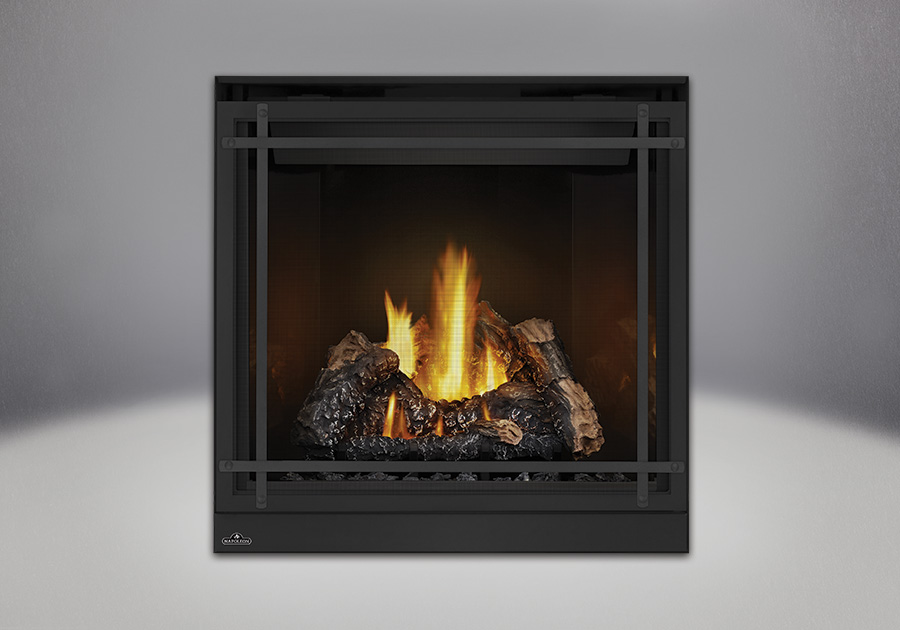 PHAZER<sup>™</sup> Log Set, MIRRO-FLAME<sup>™</sup> Porcelain Reflective Radiant Panels, Classic Resolution Front in Black, with Black Straight Accent Bars, Standard Safety Screen