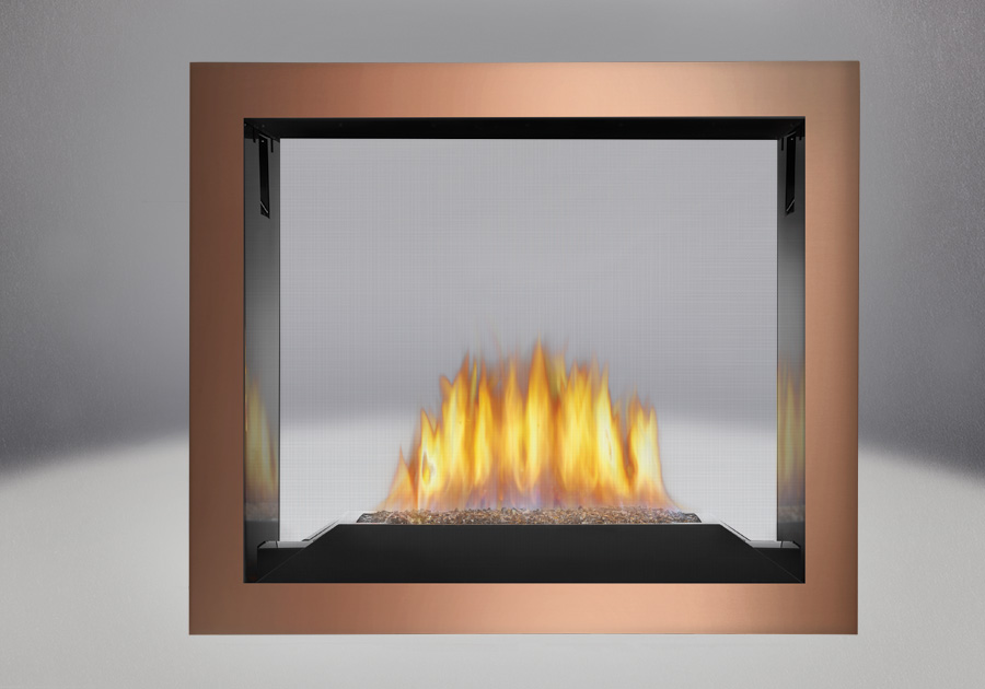 Topaz CRYSTALINE<sup>™</sup> Emberbed Burner, MIRRO-FLAME<sup>™</sup> Porcelain Reflective Radiant Panels, Brushed Copper Faceplate