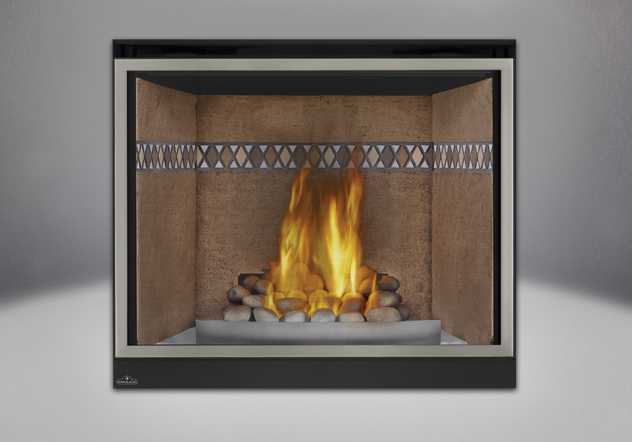 Grey Finish River Rock Media, Mayan Desert<sup>™</sup> Sandstone Brick Panels, Satin Chrome Decorative Fender, Classic Resolution Front with Overlay in Brushed Nickel, Standard Safety Screen