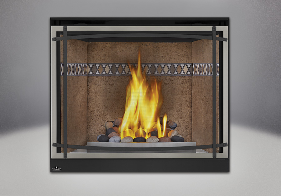 Multi-Colored Finish River Rock Media, Mayan Desert<sup>™</sup> Sandstone Brick Panels, Satin Chrome Decorative Fender, Classic Resolution Front with Overlay in Brushed Nickel, with Black Curved Accent Bars, Standard Safety Screen