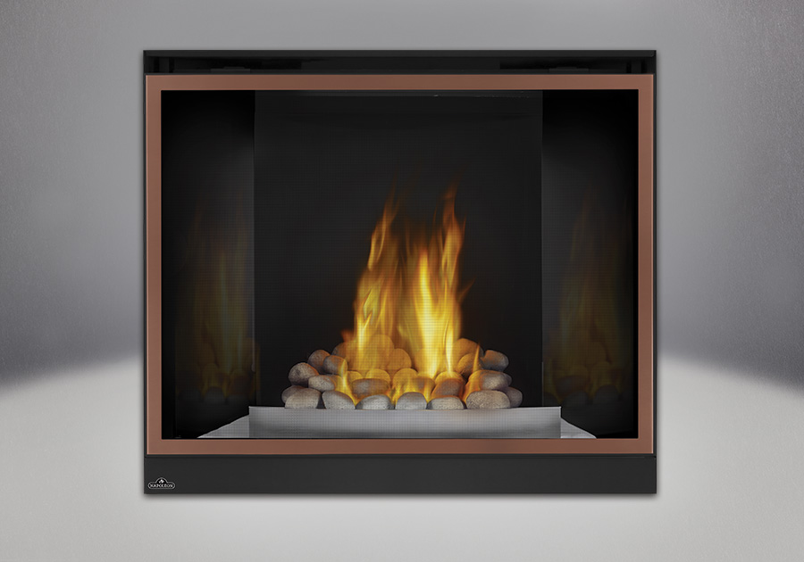 Grey Finish River Rock Media, MIRRO-FLAME<sup>™</sup> Porcelain Reflective Radiant Panels, Satin Chrome Decorative Fender, Classic Resolution Front with Overlay in Brushed Copper, Standard Safety Screen
