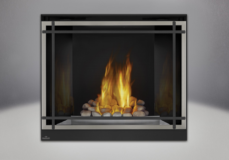 Grey Finish River Rock Media, MIRRO-FLAME<sup>™</sup> Porcelain Reflective Radiant Panels, Satin Chrome Decorative Fender, Classic Resolution Front with Overlay in Brushed Nickel, with Black Straight Accent Bars, Standard Safety Screen