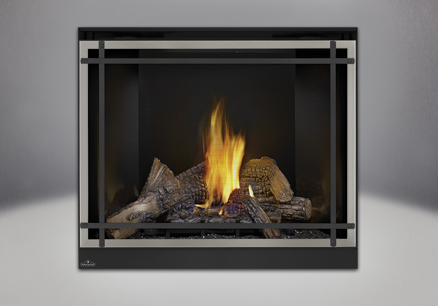 PHAZER<sup>®</sup> Log Set, MIRRO-FLAME<sup>™</sup> Porcelain Reflective Radiant Panels, Classic Resolution Front with Overlay in Brushed Stainless, with Black Straight Accent Bars, Standard Safety Screen