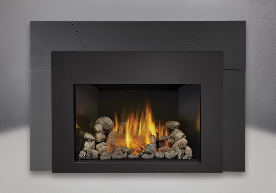 9 inch Five Piece Surround, MIRRO-FLAME<sup>™</sup> Reflective Panels, Grey River Rocks and Contemporary Black Rectangular Front, Standard Safety Screen