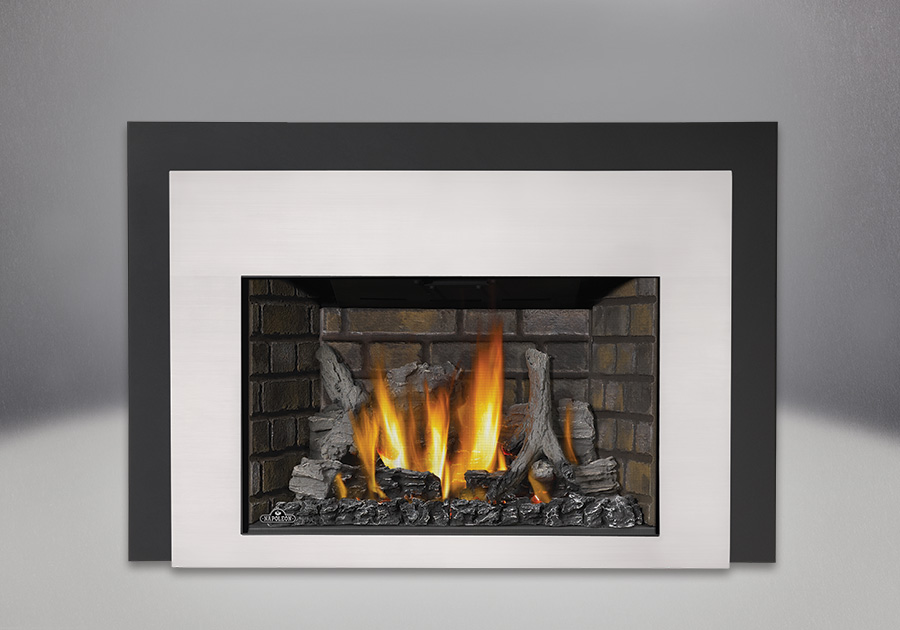 IRONWOOD<sup>™</sup> Log Set, Newport<sup>™</sup> Deluxe Brick Panels, Contemporary Front in Satin Chrome, One Piece Surround Painted Black Finish 6″