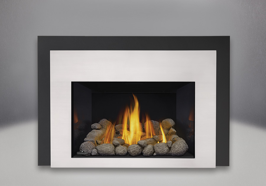 MIRRO-FLAME<sup>™</sup> Porcelain Reflective Radiant Panels, Grey River Rocks, Contemporary Front in Satin Chrome, One Piece Surround Painted Black Finish 6″