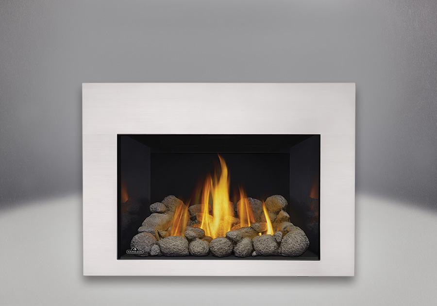 MIRRO-FLAME<sup>™</sup> Porcelain Reflective Radiant Panels, Grey River Rocks, Contemporary Front in Satin Chrome