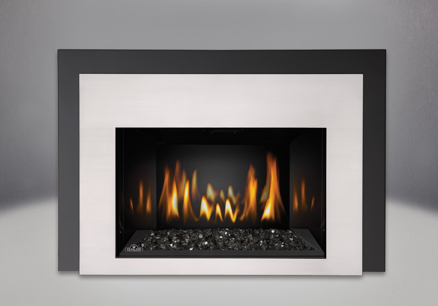 Black CRYSTALINE<sup>&trade;</sup> Ember Bed, MIRRO-FLAME<sup>&trade;</sup> Porcelain Reflective Radiant Panels, One Piece Surround Painted Black Finish 6″, Contemporary Rectangular Front Satin Chrome Plated Finish
