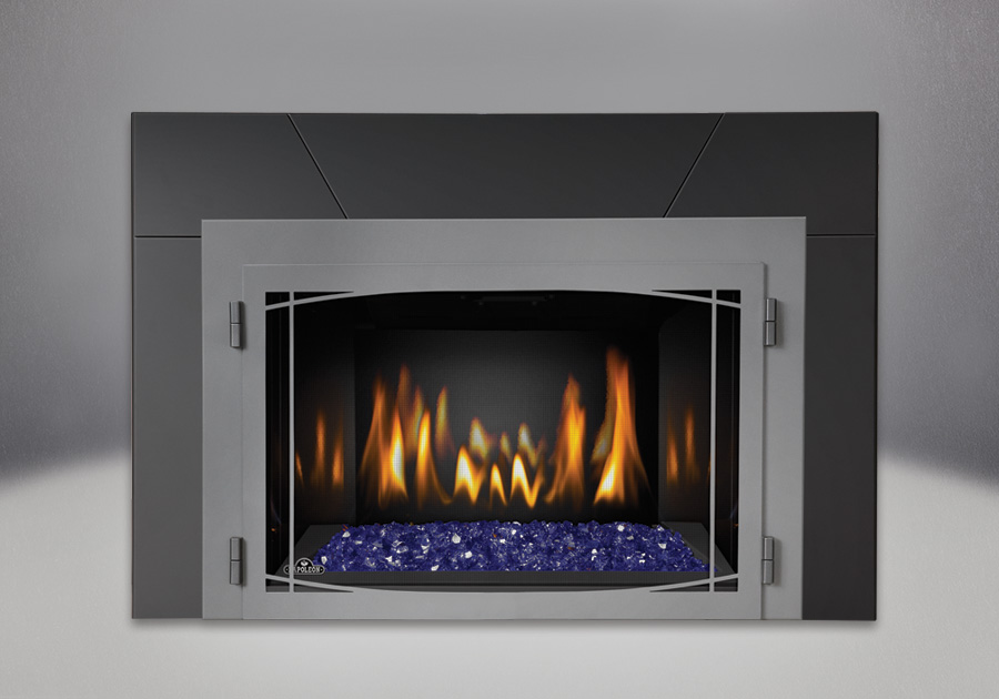 Blue CRYSTALINE<sup>™</sup> Ember Bed, MIRRO-FLAME<sup>™</sup> Porcelain Reflective Radiant Panels, Zen Modern Door Wrought Iron Finish, Five Piece Surround Painted Black Finish 6″