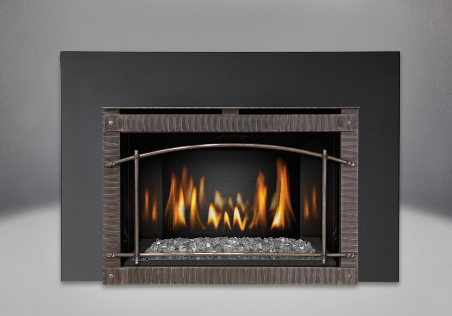 Clear CRYSTALINE<sup>™</sup> Ember Bed, MIRRO-FLAME<sup>™</sup> Porcelain Reflective Radiant Panels, Premium Scalloped Artisan Steel Door, One Piece Surround Painted Black Finish 6″