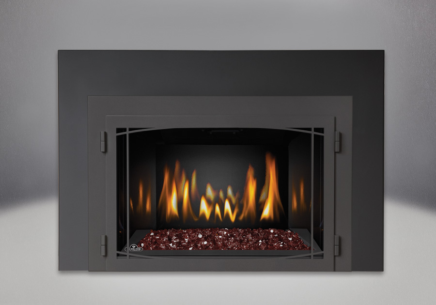 Red CRYSTALINE<sup>™</sup> Ember Bed, MIRRO-FLAME<sup>™</sup> Porcelain Reflective Radiant Panels, Zen Modern Door Painted Black Finish, One Piece Surround Painted Black Finish 6″