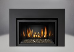 Topaz CRYSTALINE<sup>&trade;</sup> Ember Bed, MIRRO-FLAME<sup>&trade;</sup> Porcelain Reflective Radiant Panels, One Piece Surround Painted Black Finish 6″