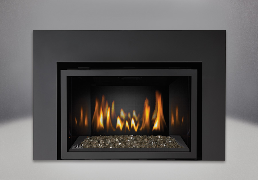 Topaz CRYSTALINE<sup>™</sup> Ember Bed, MIRRO-FLAME<sup>™</sup> Porcelain Reflective Radiant Panels, One Piece Surround Painted Black Finish 6″
