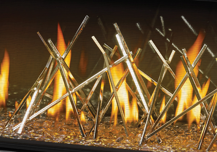 MIRRO-FLAME<sup>™</sup> Porcelain Reflective Radiant Panels, Clear Glass Beads, Nickel Stix