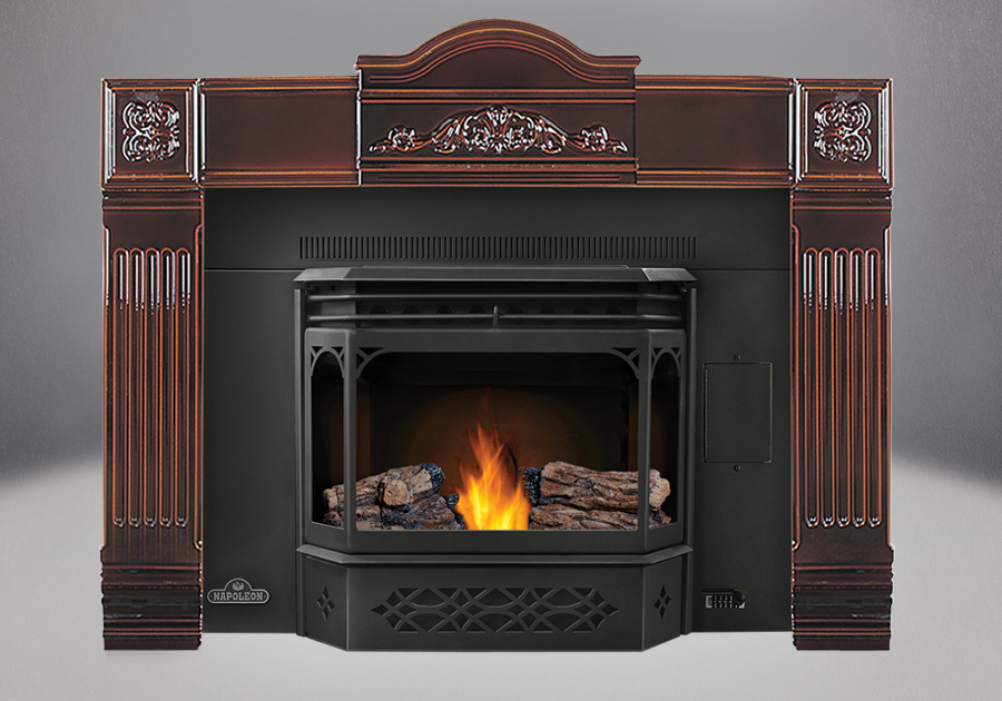 PHAZER<sup>®</sup> Logs, MIRRO-FLAME<sup>™</sup> Porcelain Reflective Radiant Panels, 8″ Black Flashing with Trim, Cast Iron Surround in Majolica, Black Door and Trivet