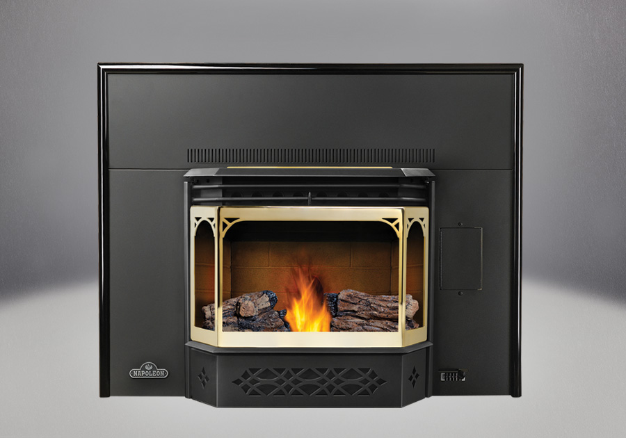 PHAZER® Logs, Sandstone Brick Panels, 8u2033 Black Flashing With Trim, Gold  Plated Door And Trivet