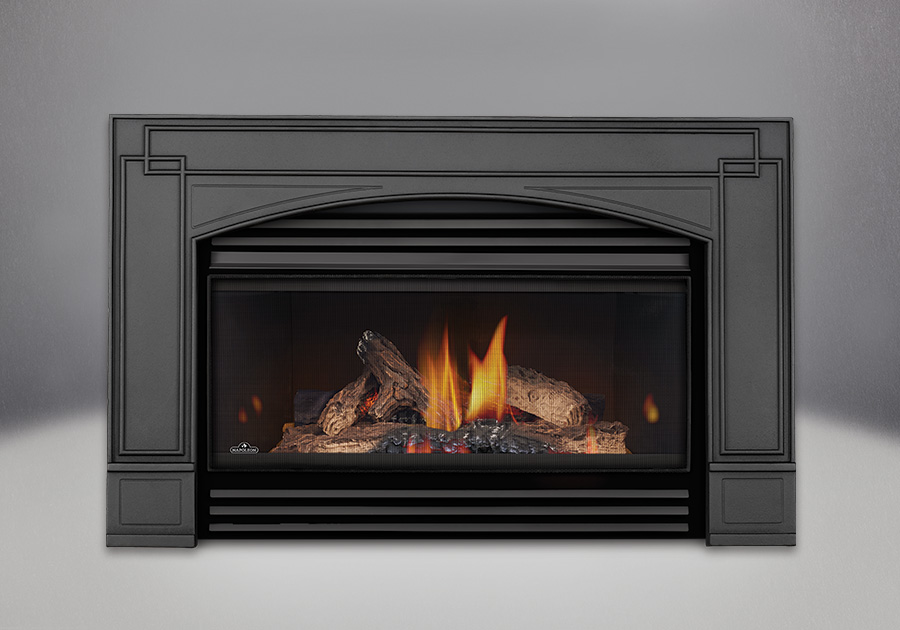 PHAZER<sup>®</sup> Logs, MIRRO-FLAME<sup>™</sup> Porcelain Reflective Radiant Panels, Arched Cast Iron Surround, Louvers - Black Finish, Curved Safety Barrier