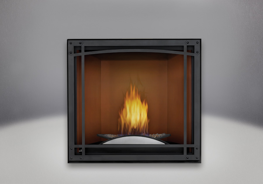 Fire Cradle, Cappuccino MIRRO-FLAME<sup>™</sup> Porcelain Reflective Radiant Panels, Decorative Front, Standard Safety Screen