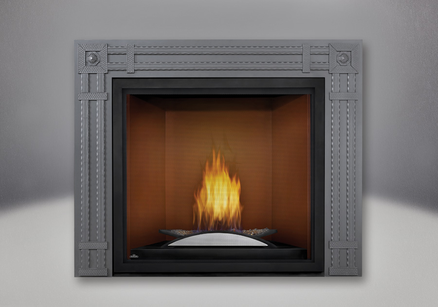 Fire Cradle, Cappuccino MIRRO-FLAME<sup>™</sup> Porcelain Reflective Radiant Panels, Rectangular