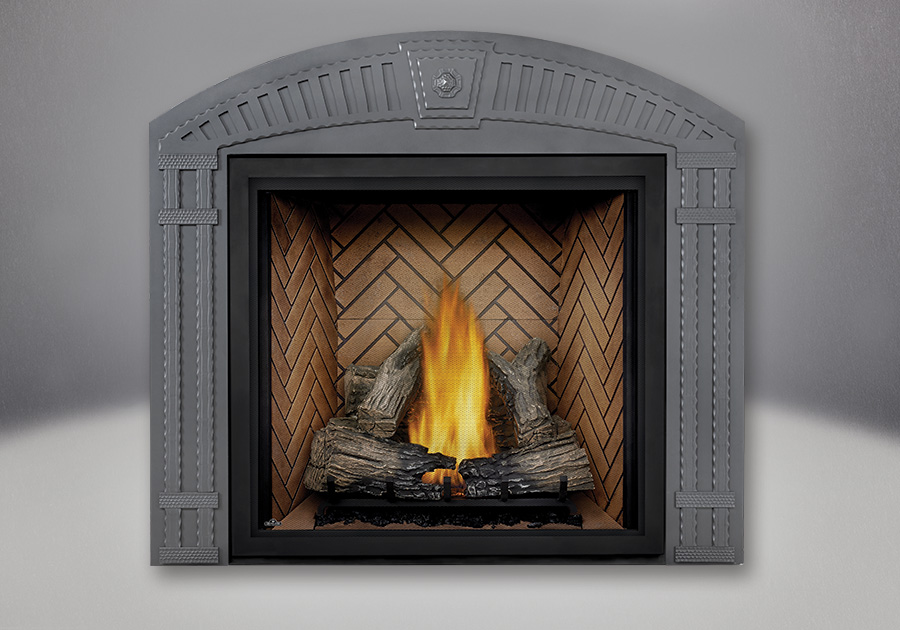 TALL FLAME PHAZER<sup>®</sup> Log Set, Standard, Herringbone Panel, Arched Surround