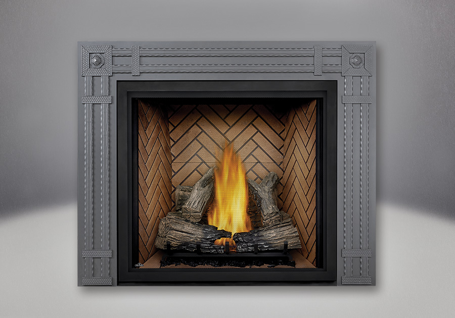 TALL FLAME PHAZER<sup>®</sup> Log Set, Herringbone Panel, Rectangular Surround