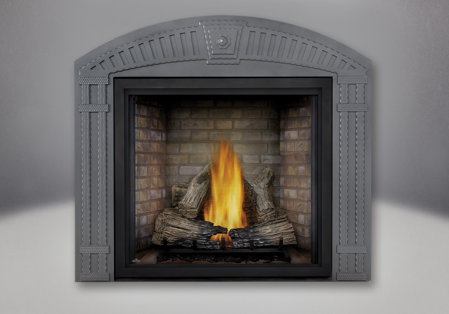 TALL FLAME PHAZER<sup>®</sup> Log Set, Newport<sup>™</sup> Panel, Arched Surround