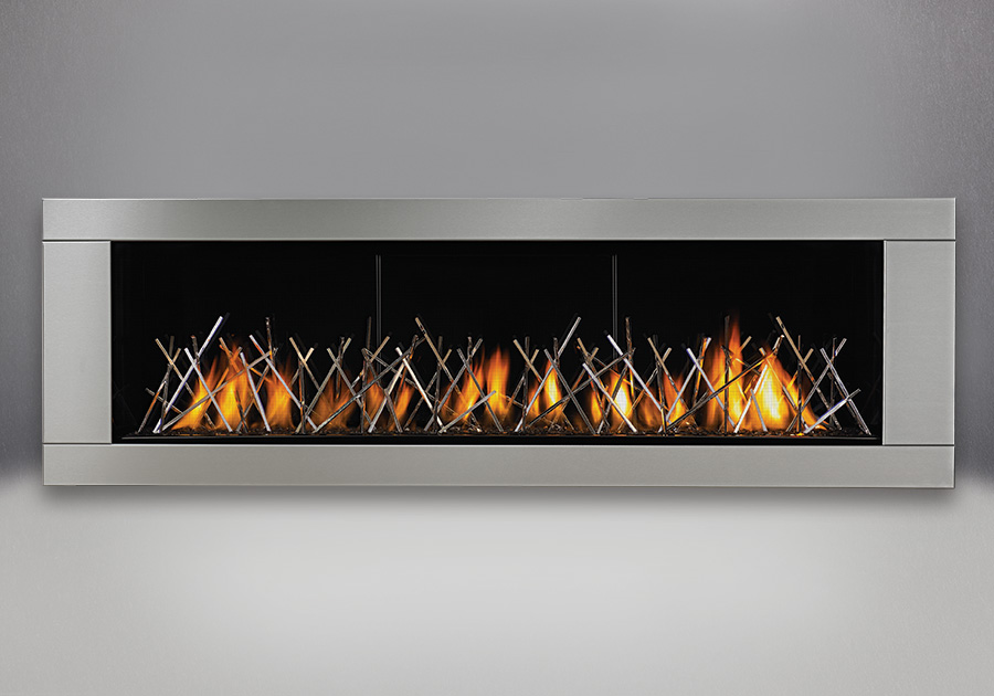 Topaz CRYSTALINE<sup>™</sup> Ember Bed, MIRRO-FLAME<sup>™</sup> Porcelain Reflective Radiant Panels, Premium 4-Sided Surround – Brushed Stainless Steel Finish, Nickel Stix Designer Fire Art