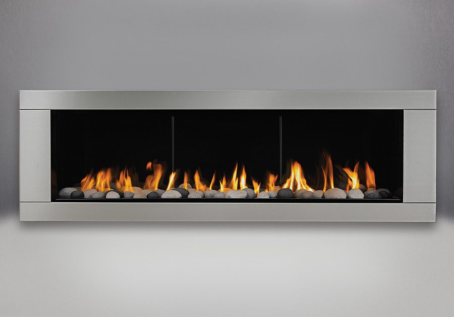 Grey Finish River Rock Media Kit, MIRRO-FLAME<sup>™</sup> Porcelain Reflective Radiant Panels, Premium 4-Sided Surround – Brushed Stainless Steel Finish