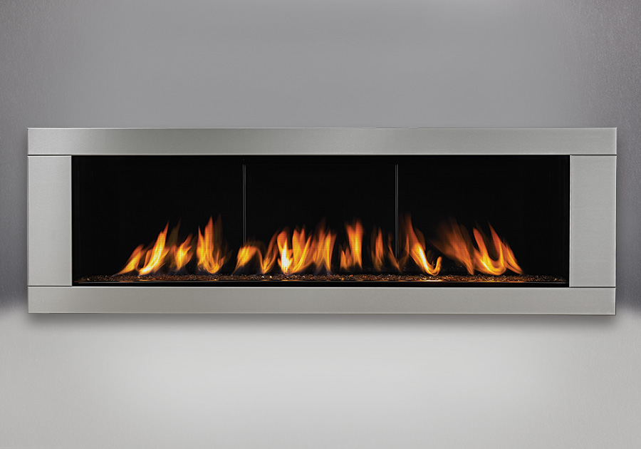 Topaz CRYSTALINE<sup>™</sup> Ember Bed, MIRRO-FLAME<sup>™</sup> Porcelain Reflective Radiant Panels, Premium 4-Sided Surround – Brushed Stainless Steel Finish