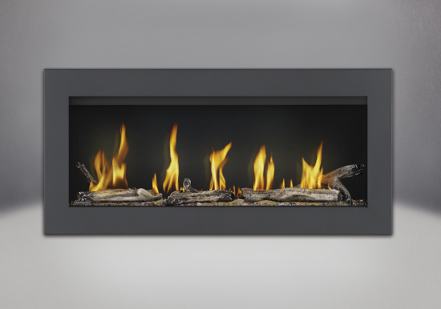 Surround in Powder Coat Black, Beach Fire Kit, MIRRO-FLAME<sup>™</sup> Porcelain Reflective Radiant Panels