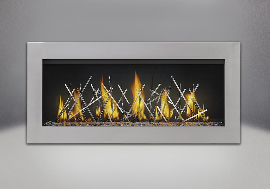 Surround in Stainless Steel, shown with Clear Glass Beads and Nickel Stix, MIRRO-FLAME<sup>™</sup> Porcelain Reflective Radiant Panels