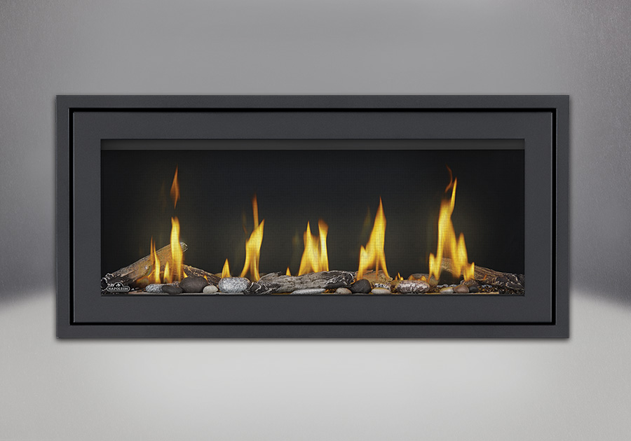 Finishing Trim (shown on Flush Frame) in Powder Coat Black, Beach Fire Kit, Shore Fire Kit, MIRRO-FLAME<sup>™</sup> Porcelain Reflective Radiant Panels