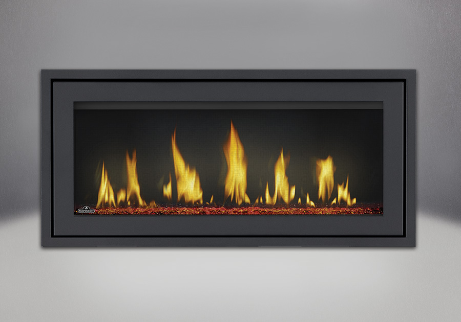 Finishing Trim (shown on Flush Frame) in Powder Coat Black, shown with Red Glass Beads, MIRRO-FLAME<sup>™</sup> Porcelain Reflective Radiant Panels